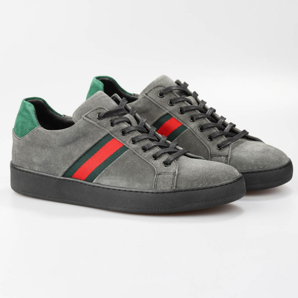 GREY RED DETAILED SNEAKERS